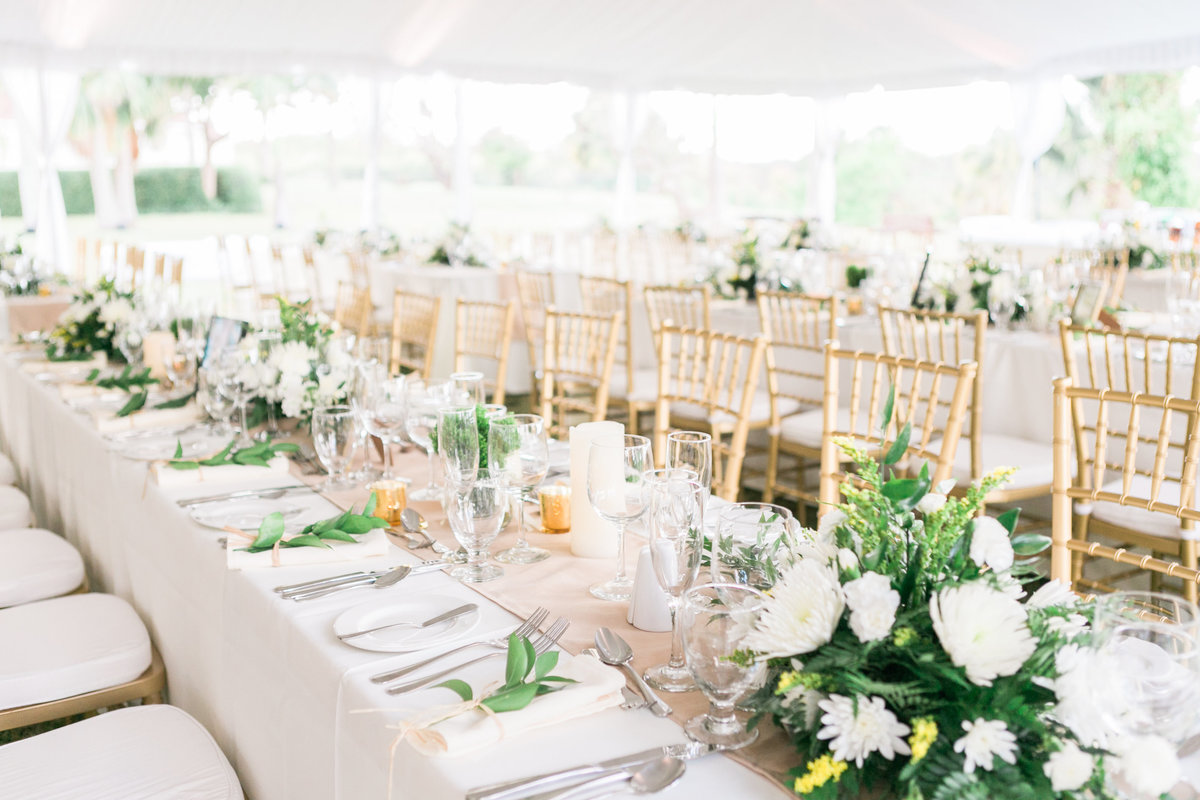 White tented wedding reception at Barbados destination wedding