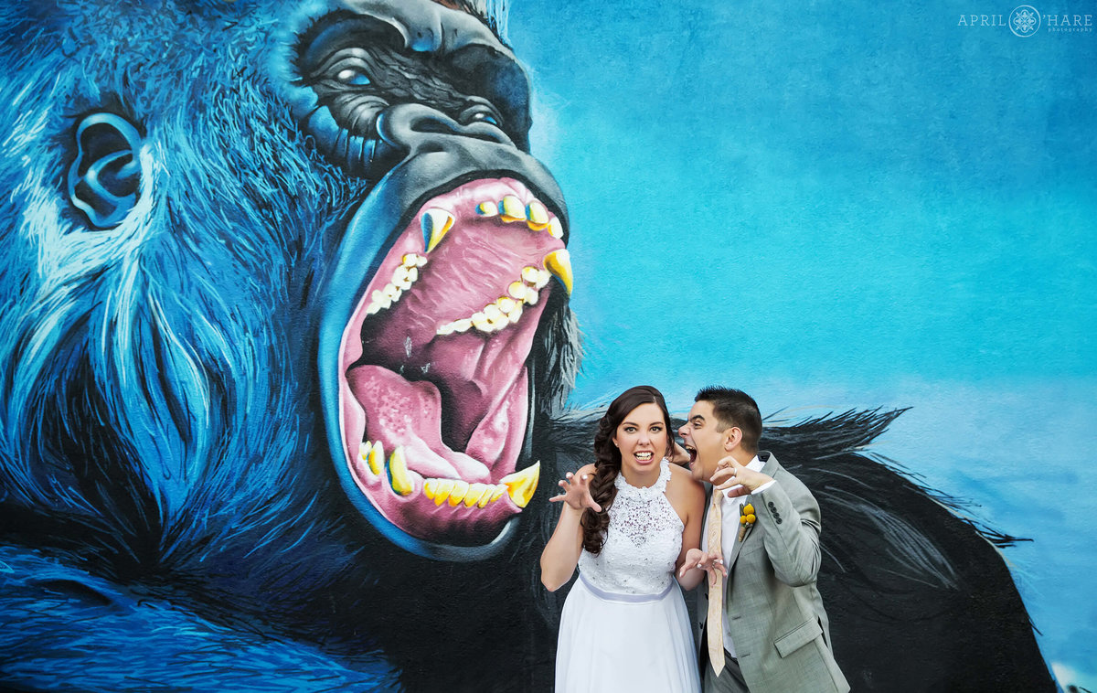 Gorilla Wall Mural Fun Denver Wedding Photographer at Artwork Network