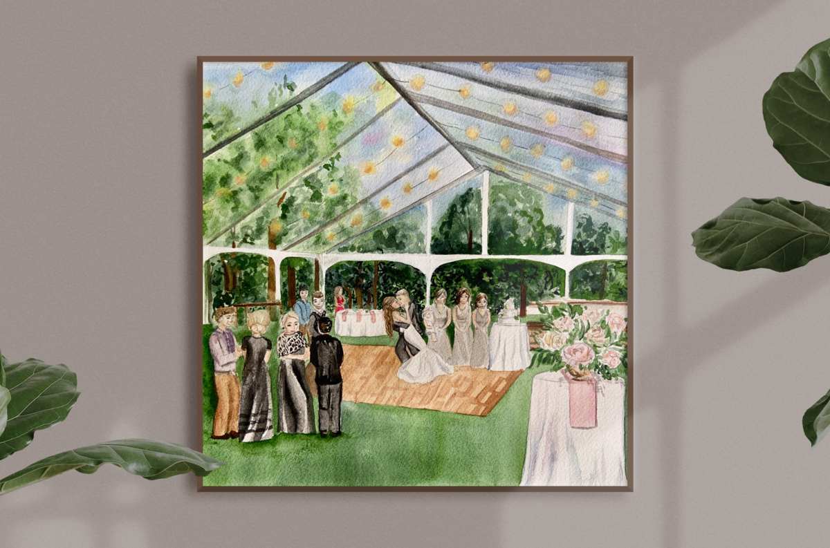 Boxwood Estates Reception Tent Live Wedding Painting Live Painter Ashley Triggiano