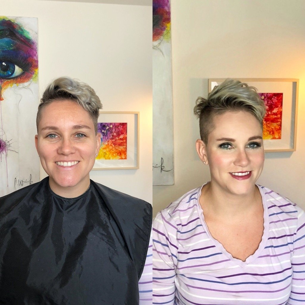 Before and After Makeup Natalie Setareh Special Event Makeup Pixi haircut