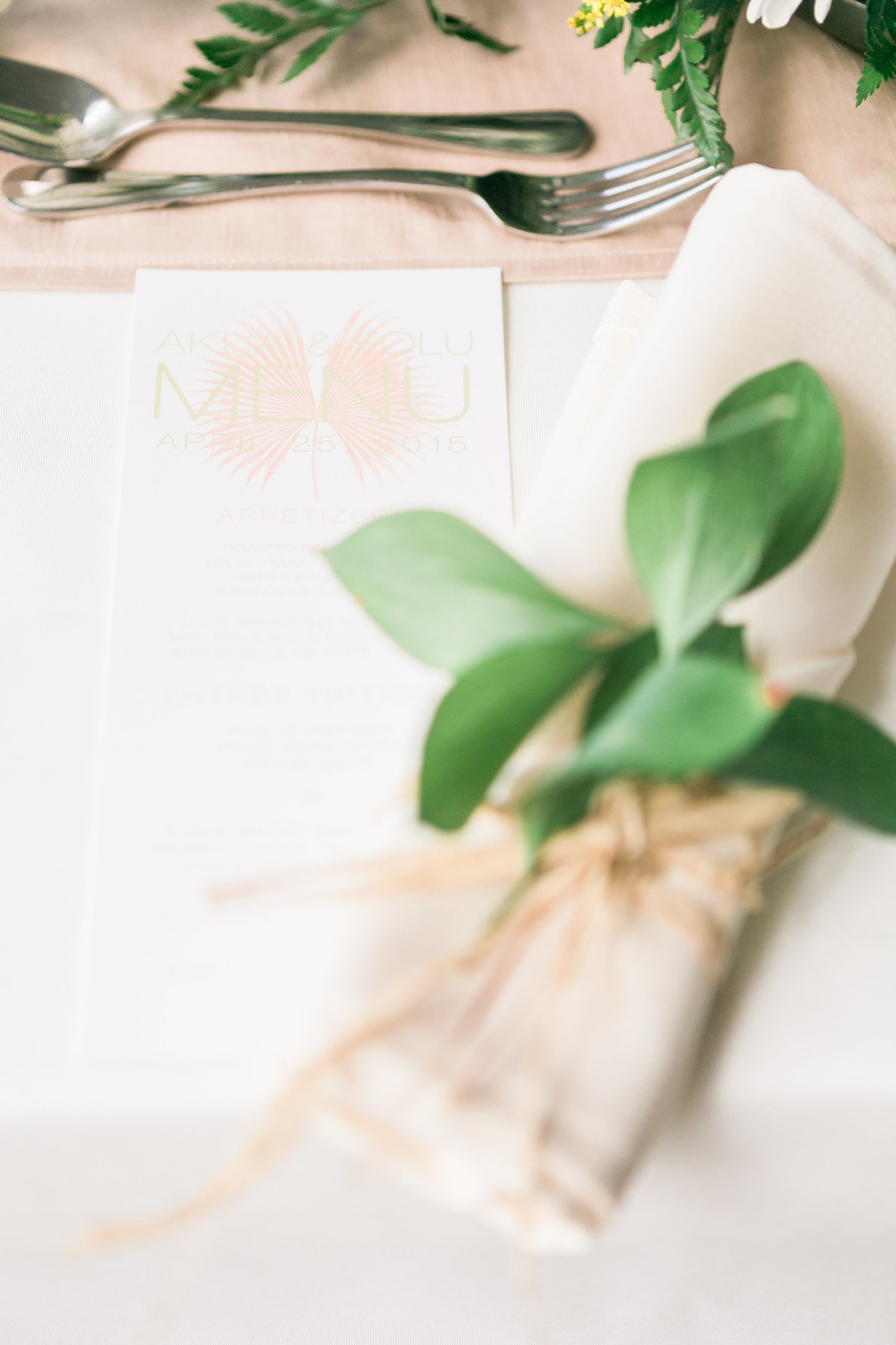 Blush pink menu place setting, Barbados wedding