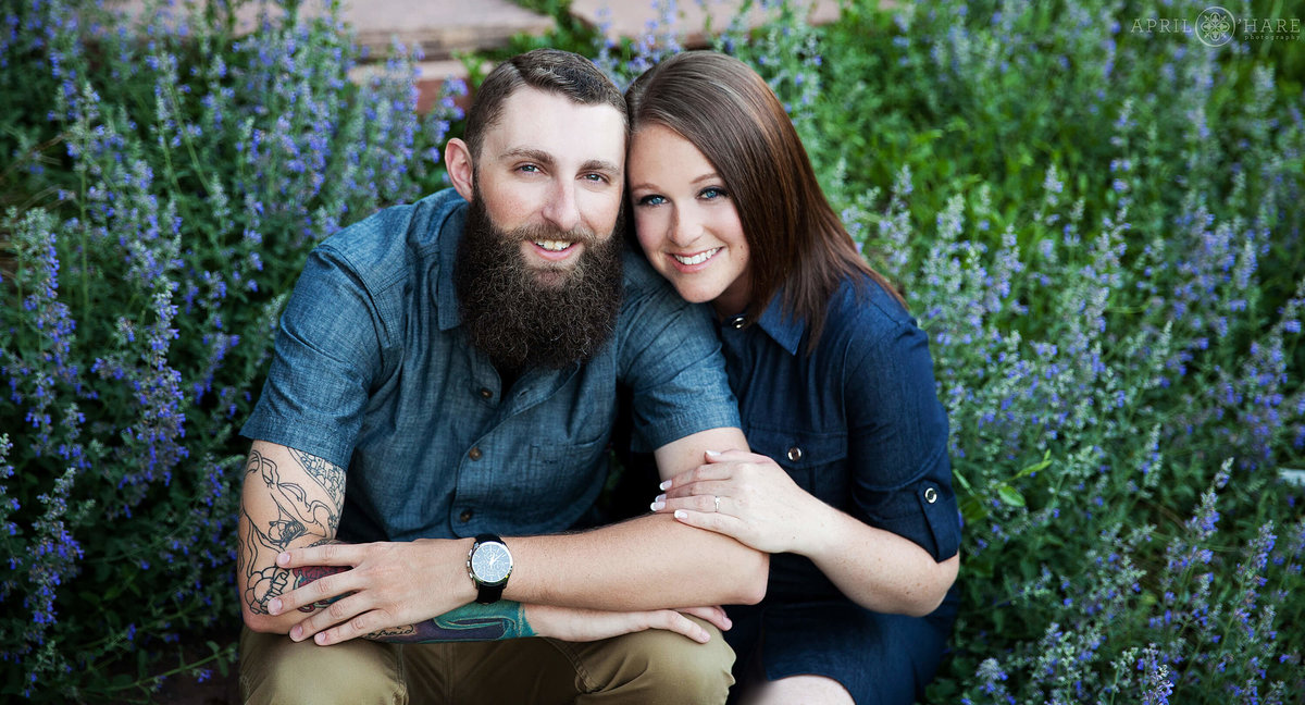 Garden engagement photography in Fort Collins at New Belgium Brewery