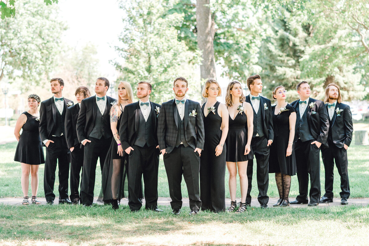 alernativewedding party poses by cedar falls woman's club