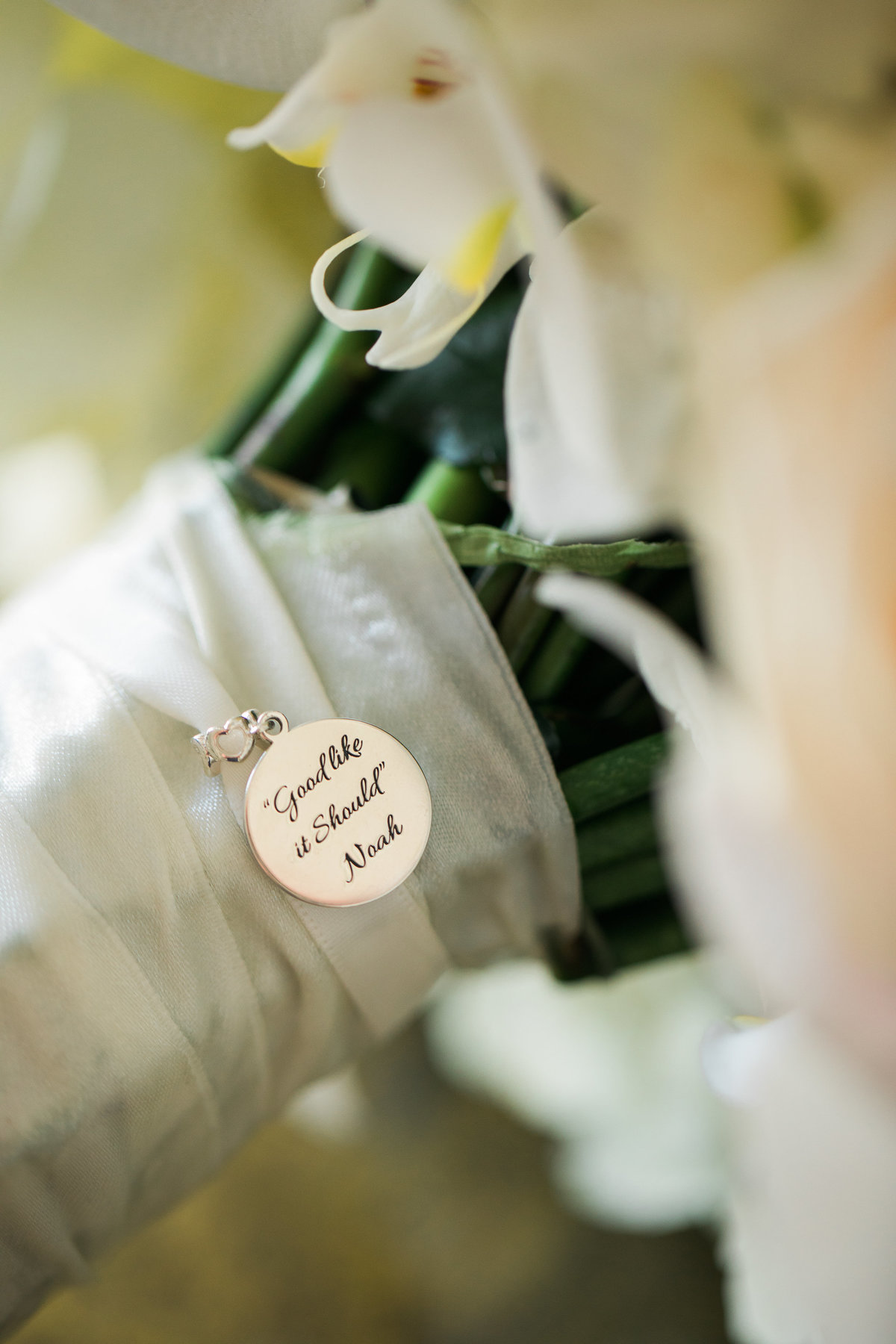 Wedding bouquet with pendant.