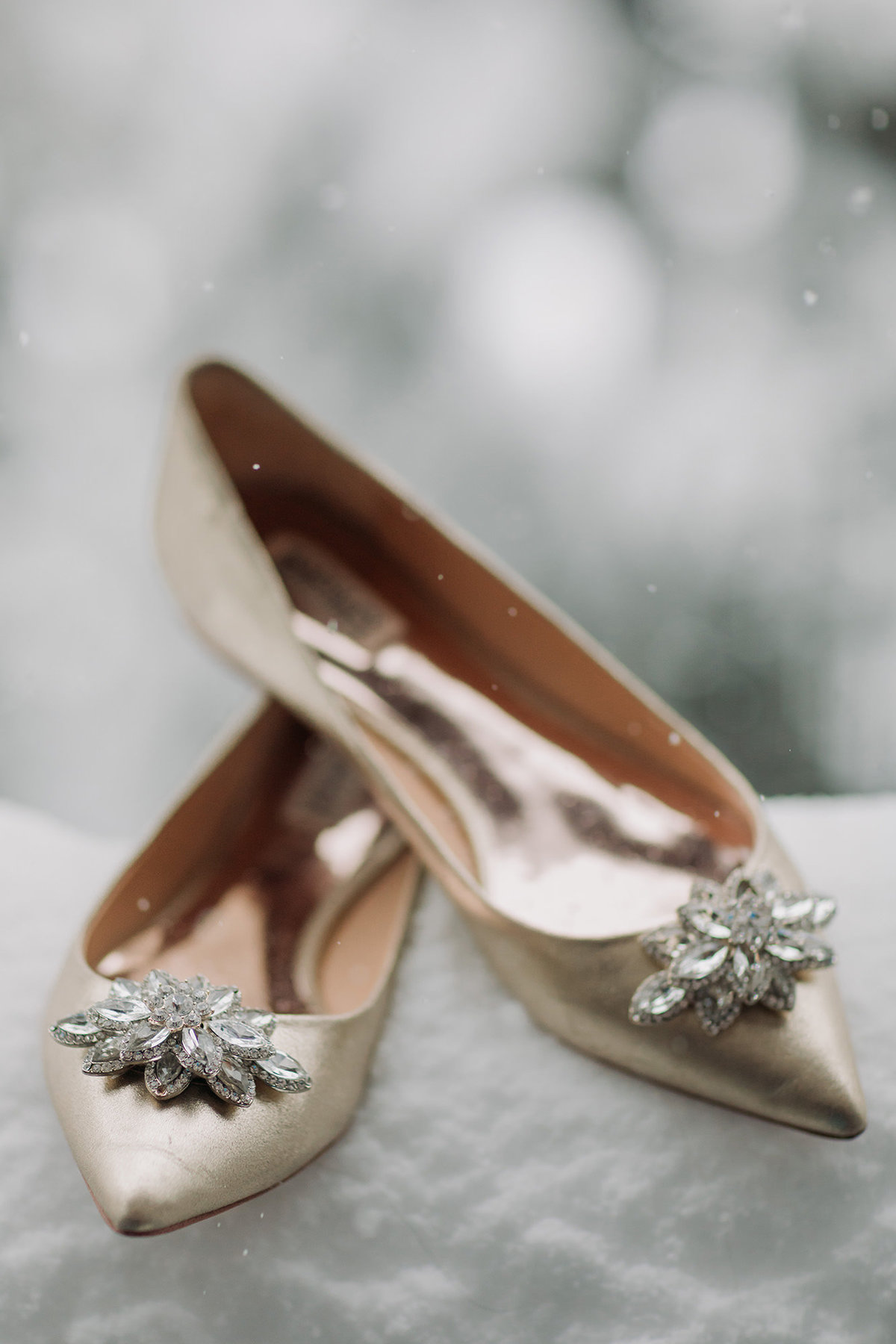 champagne badgley mischka wedding flats shoes snow