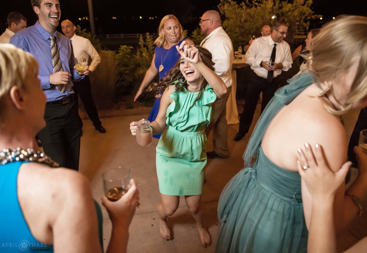 Fun Wedding Dance Floor Photos at Denver Botanic Gardens Chatfield Farms
