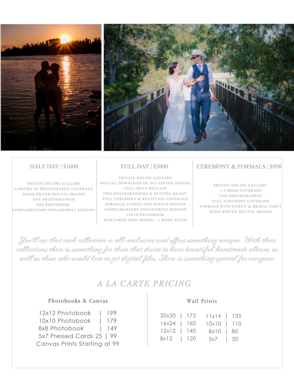 Pricing Menu Weddings
