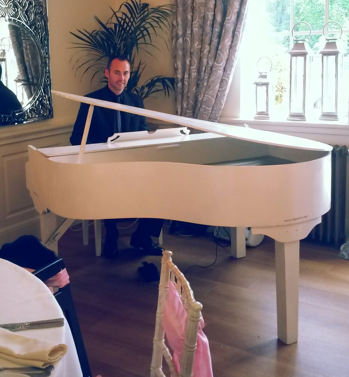 wedding pianist white baby grand piano eaves hall lancashire