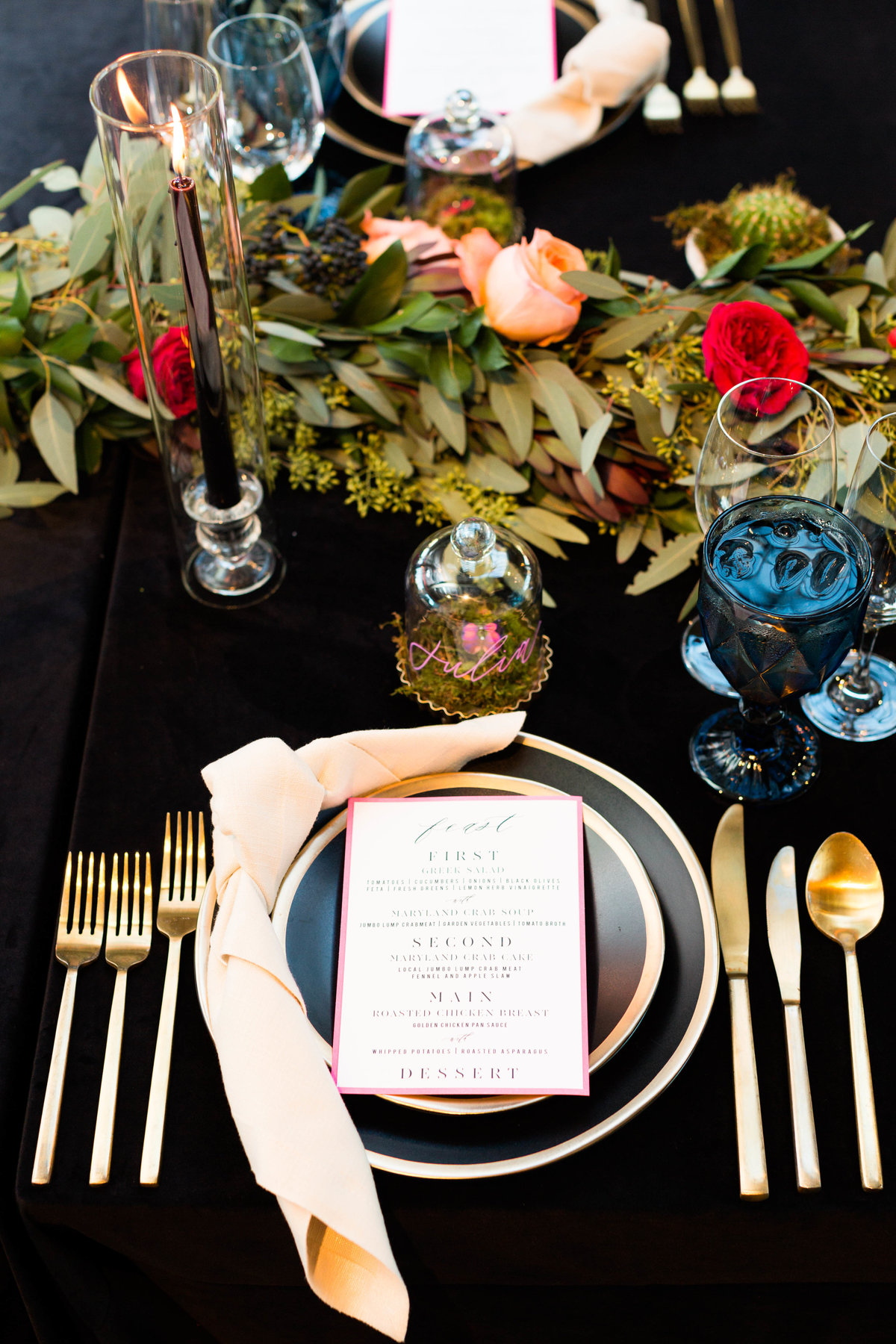 luxe and dramatic wedding tablescape