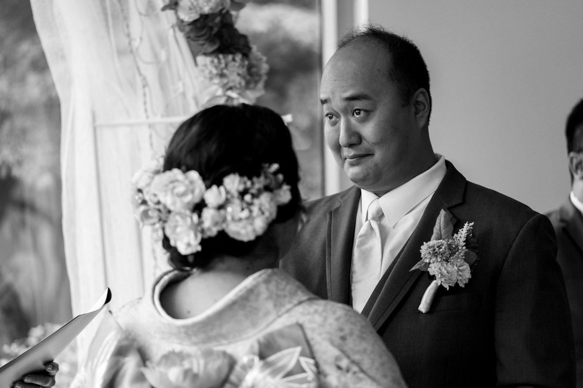 Groom crying at his Musuem of Vancouver wedding,