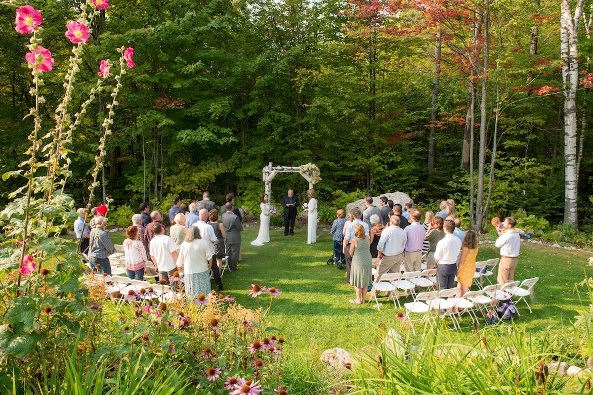 intimate outdoor same sex wedding ceremony at Vermont's Notch House 1