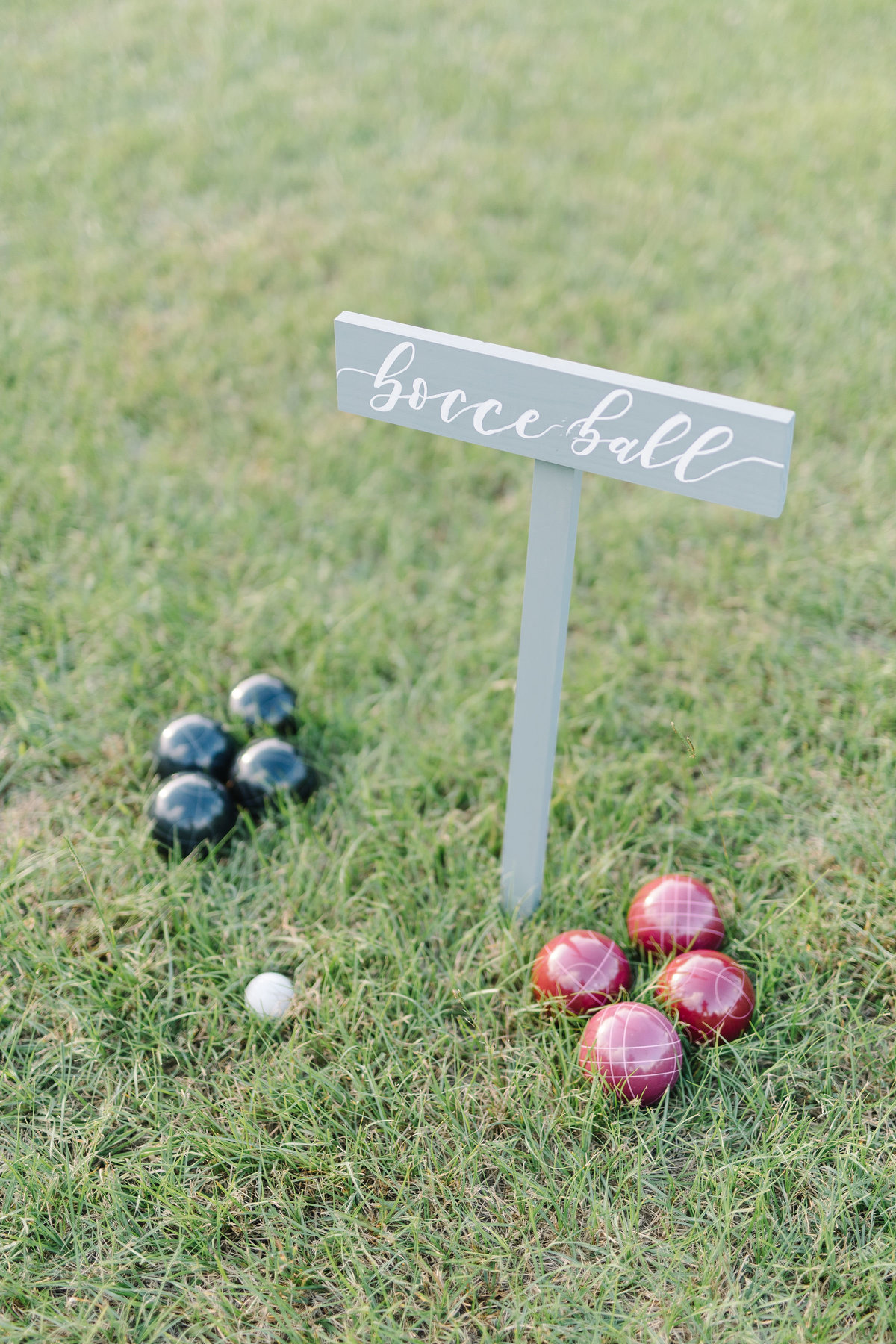 Custom Bocce Ball Set and Sign for Wedding Reception
