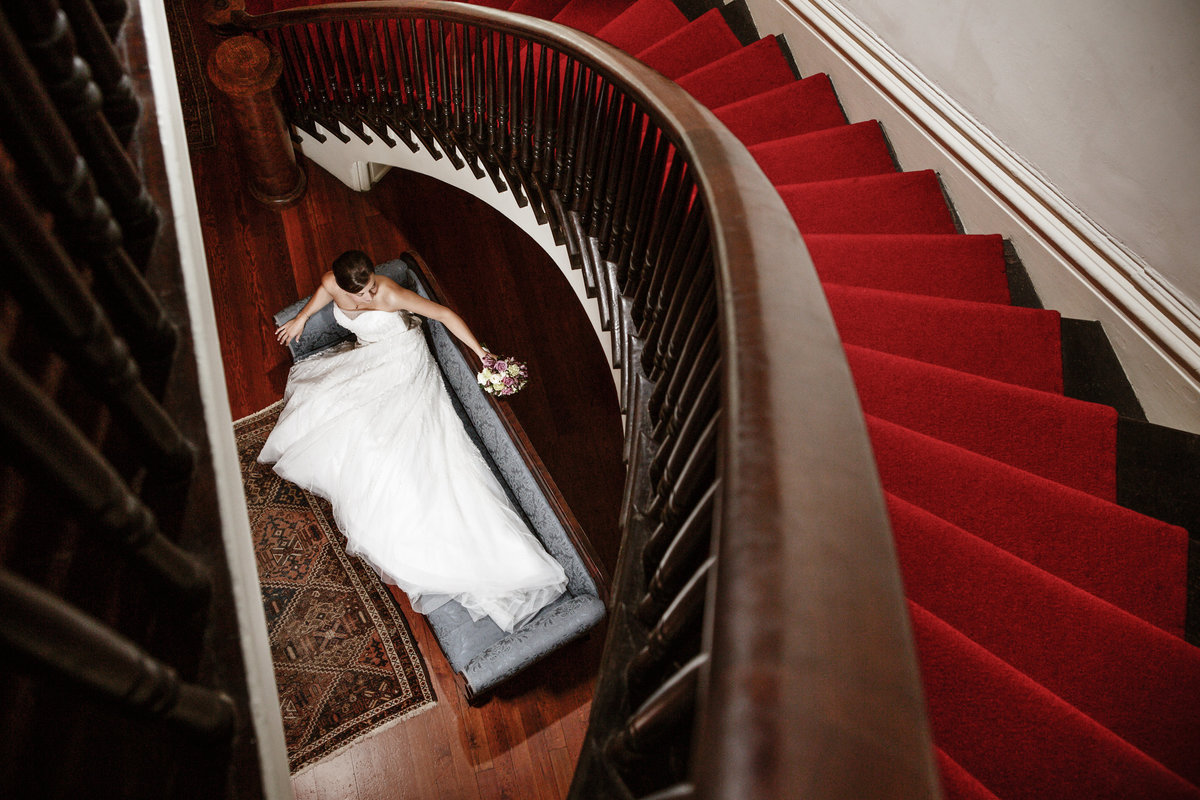 Katie Bush bridal portrait at the Richards DAR  House in downtown Mobile, Alabama.