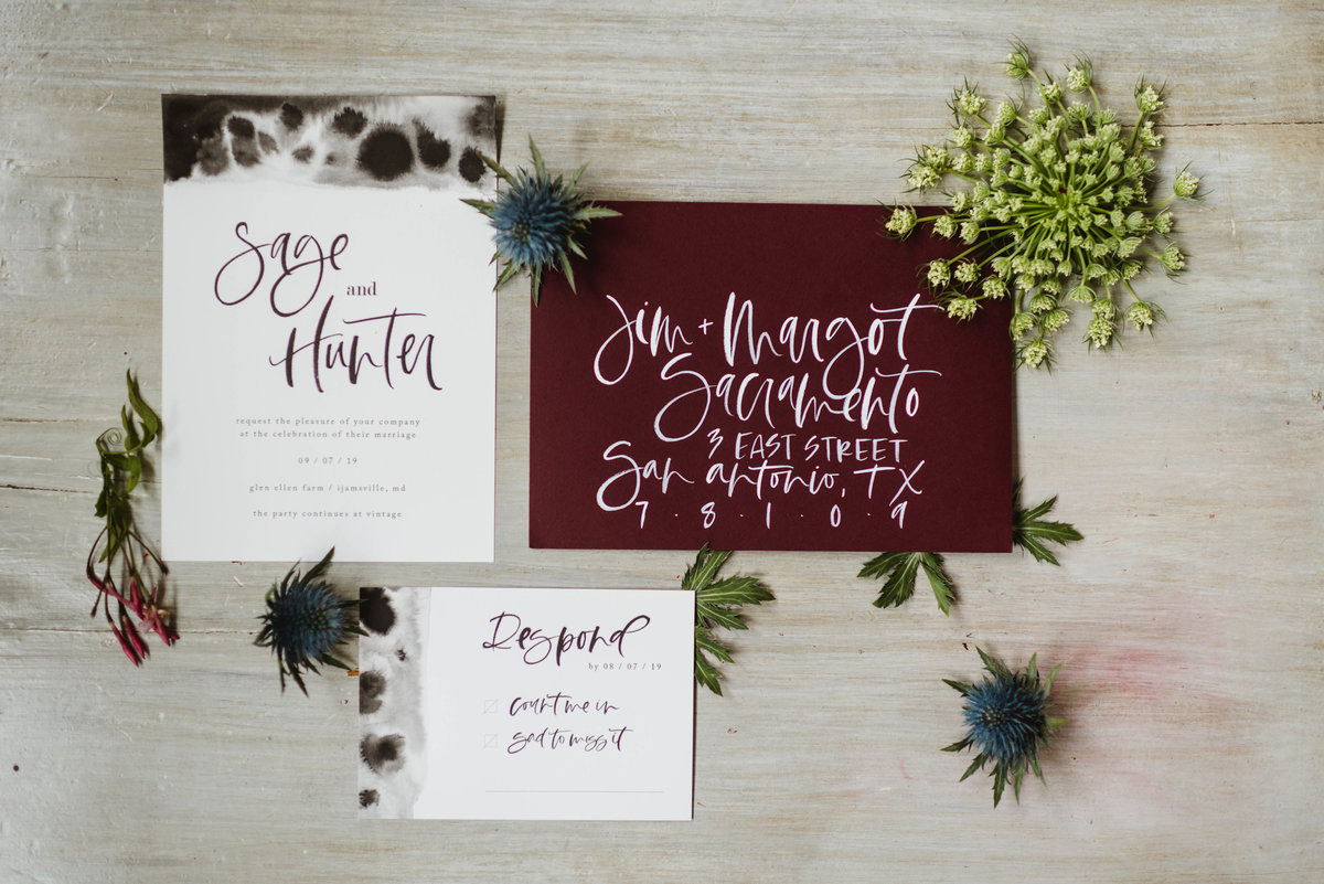Bare Ink Co Hand Lettered invitations
