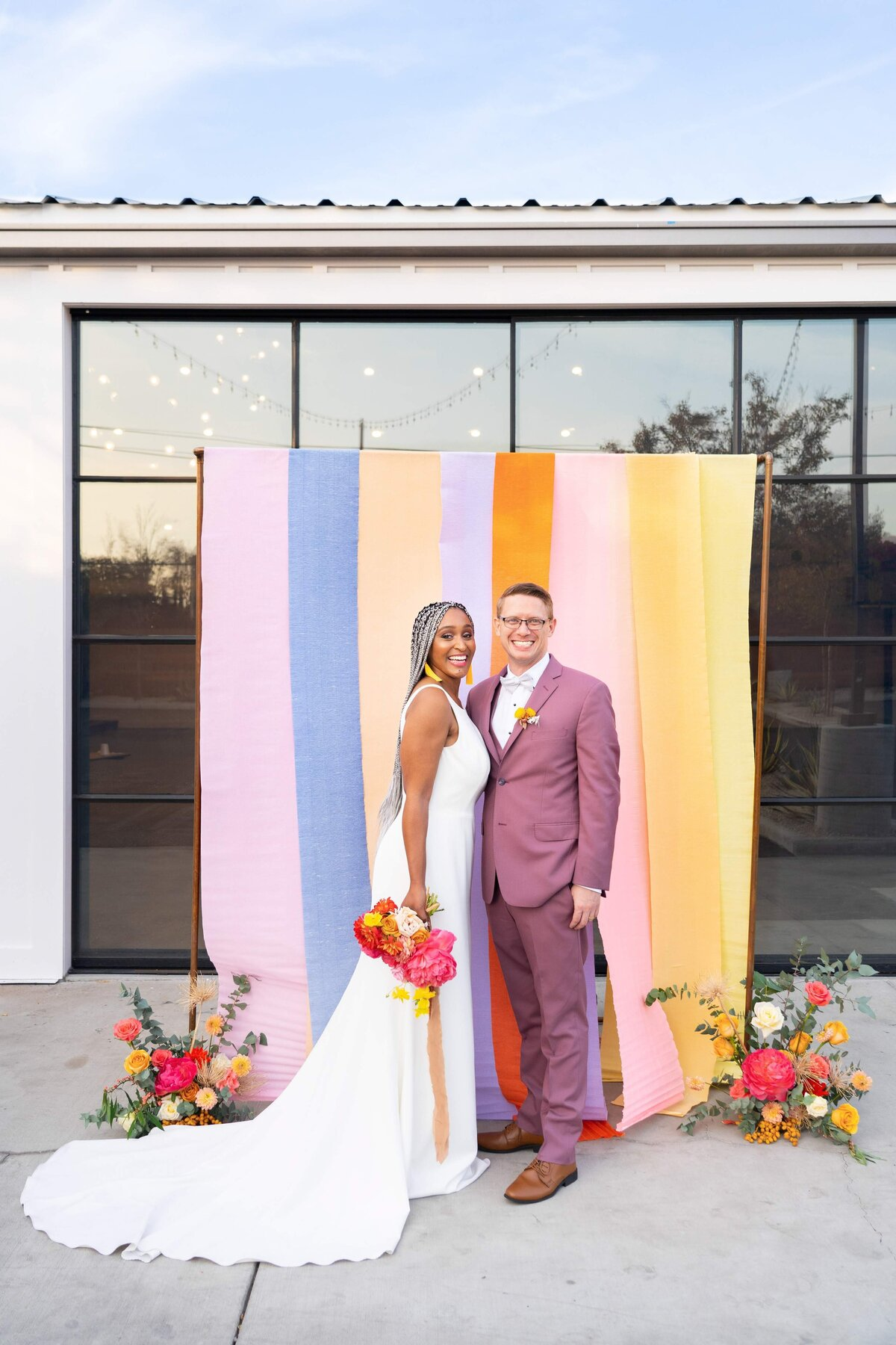 Bride and Groom Colorful Ceremony Backdrop