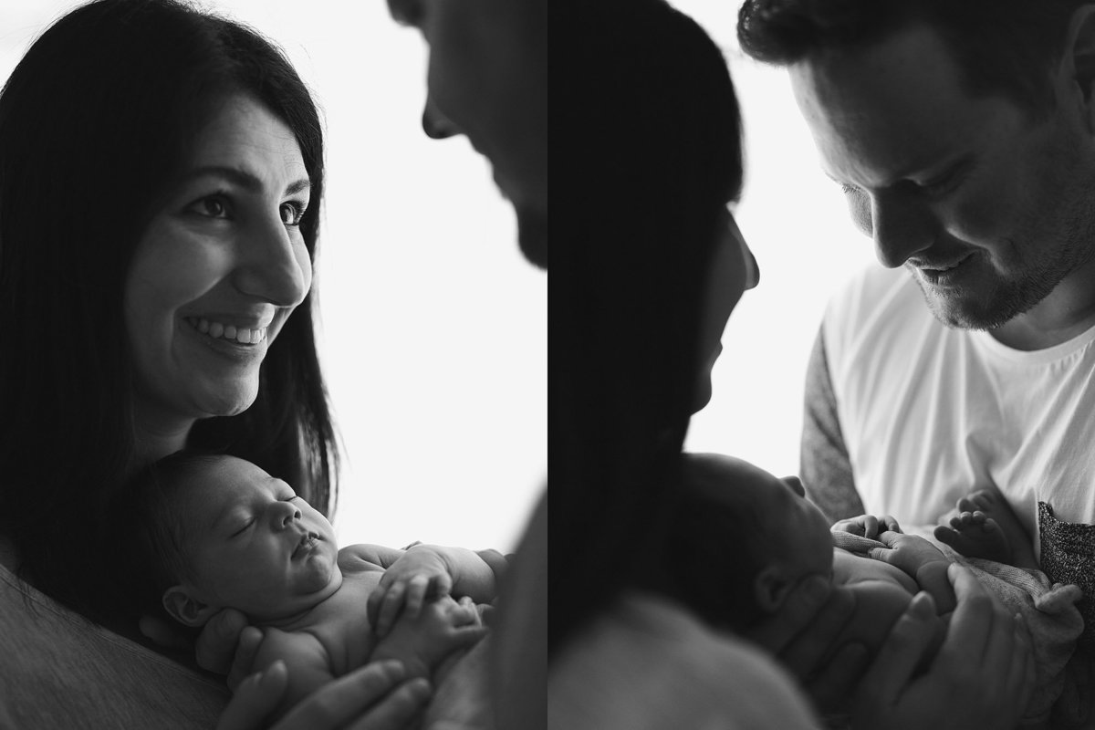 two photos of couplle holding a baby looking at each other