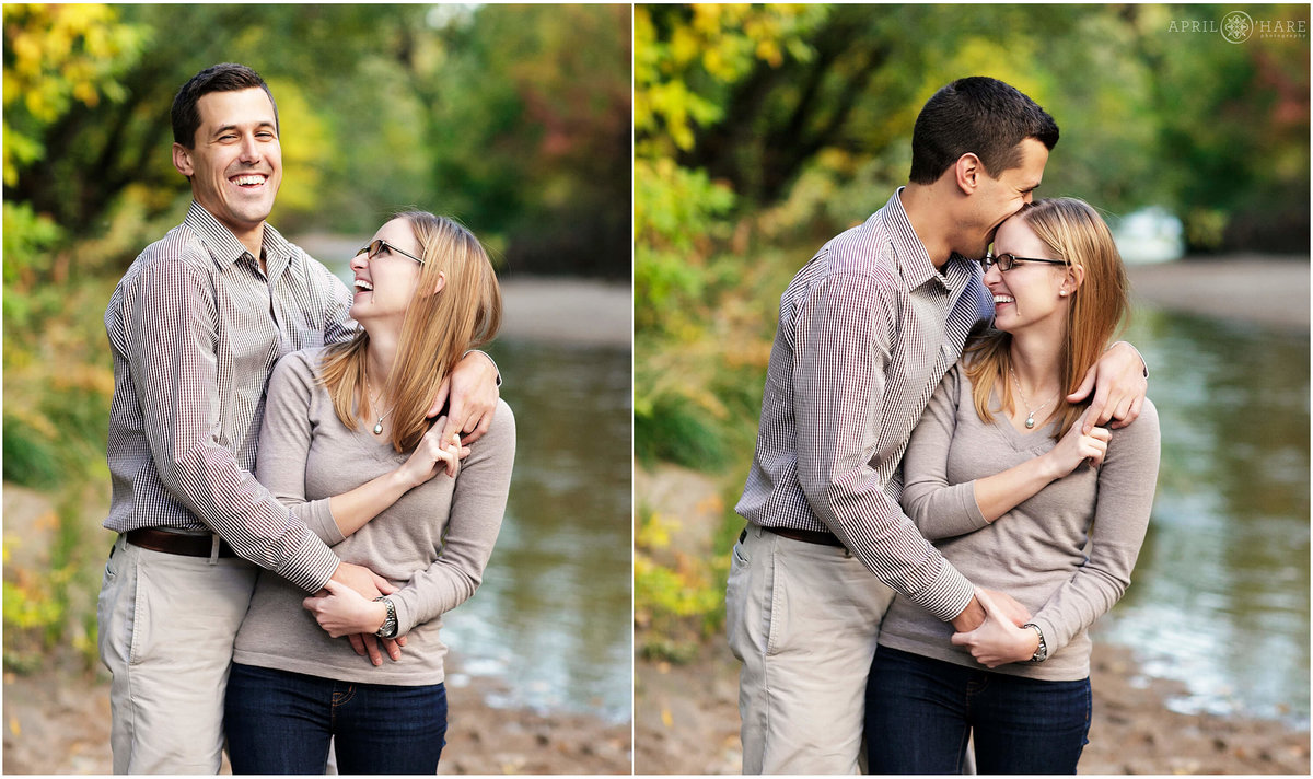 Happy laughing couple engagement photography at Four Mile Park at Cherry Creek