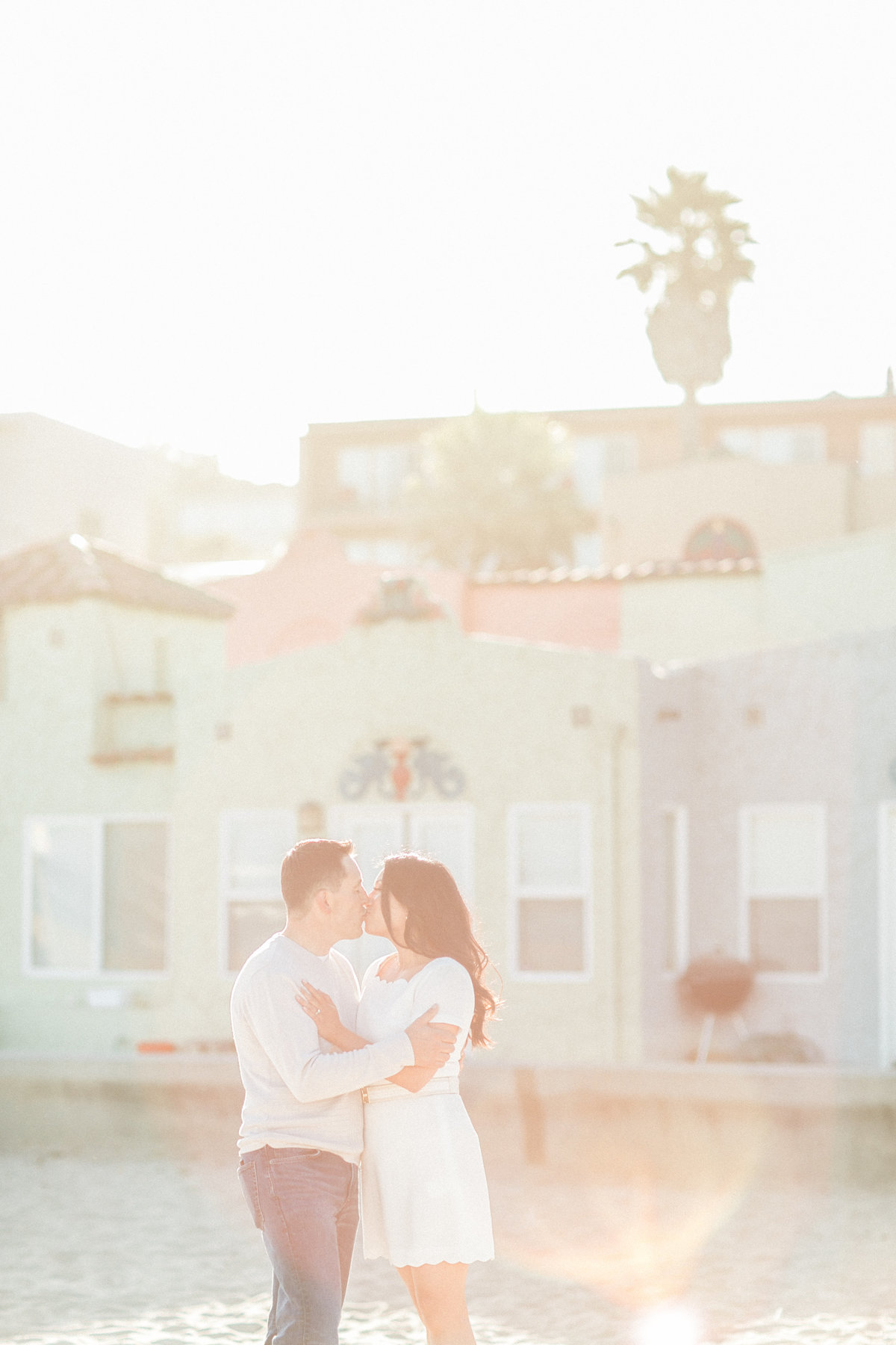 California Hazy Sunlight Beach Engagement