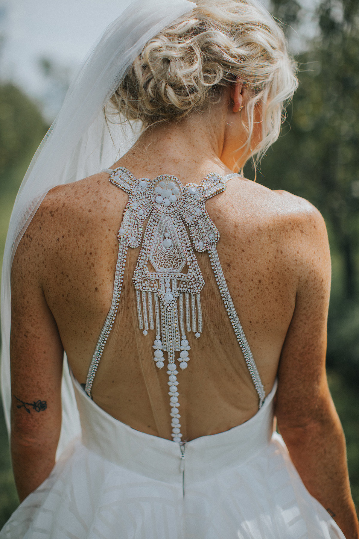 back of brides very detailed dress