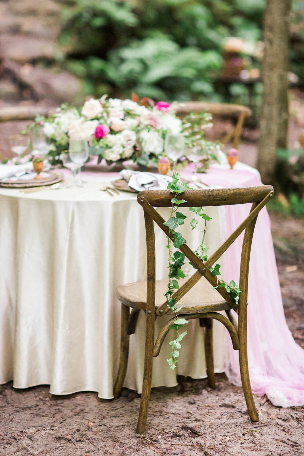 wood chair, chair back garland, woodsy elopement