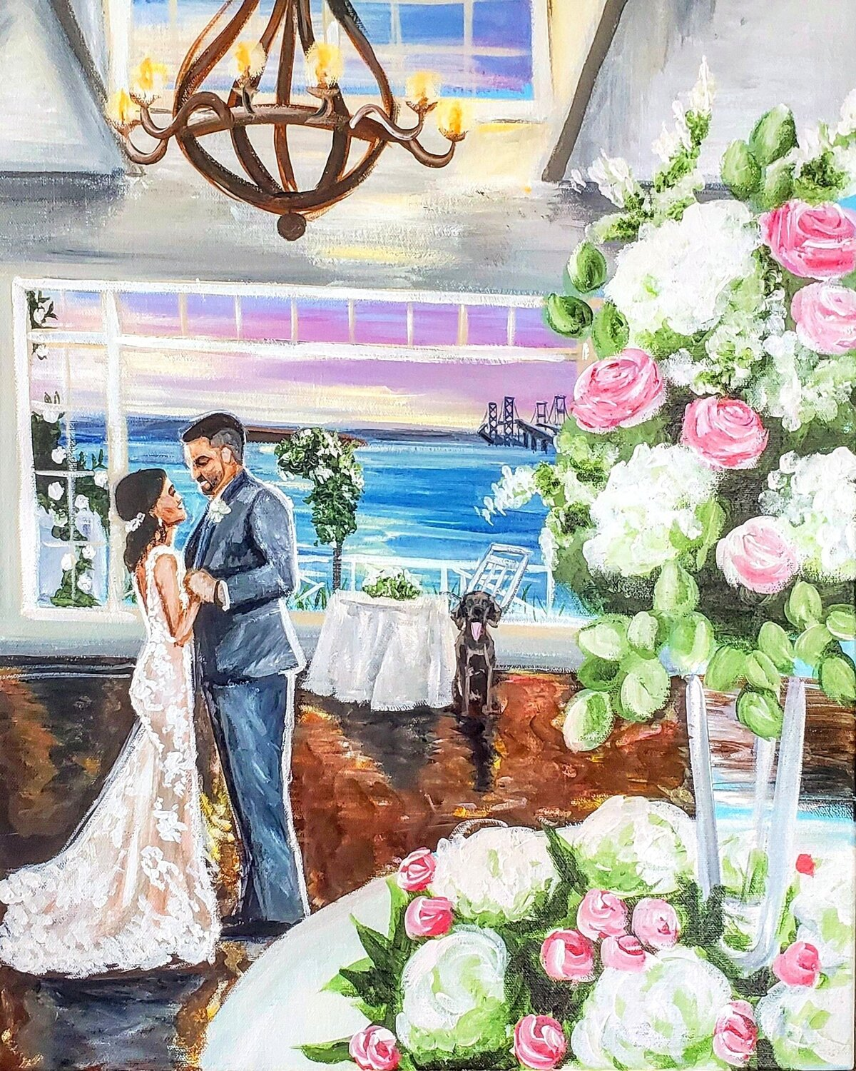 Live painting of a bride and groom sharing their first dance in the ballroom of the Chesapeake Bay Beach Club in Stevensville Maryland