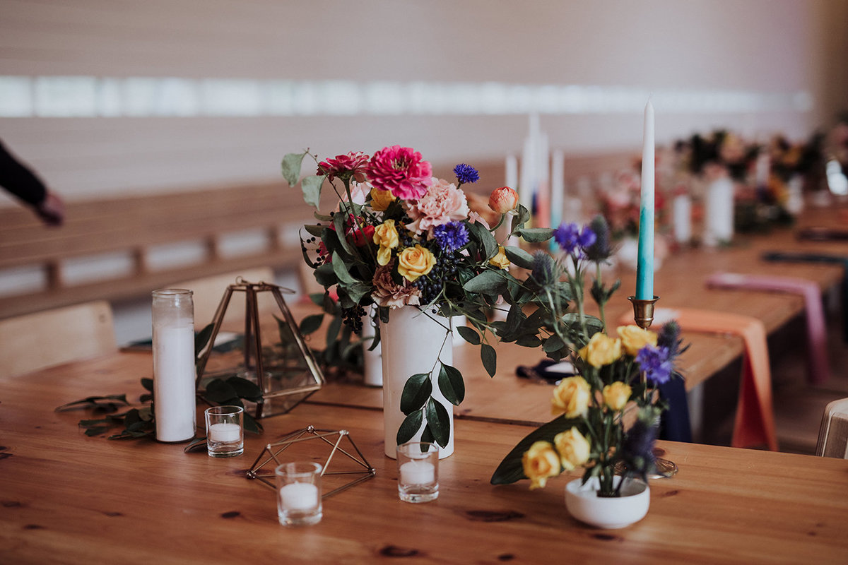 Modern Dallas Wedding Florist | Jubilee Flower Co. - Colorful Rainbow Wedding at Prospect House