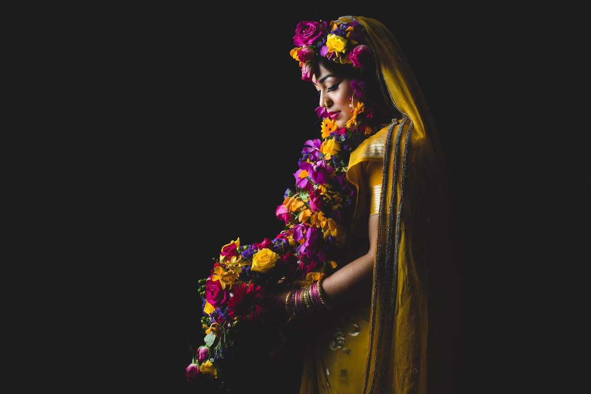 asian wedding photography yellow sari colour