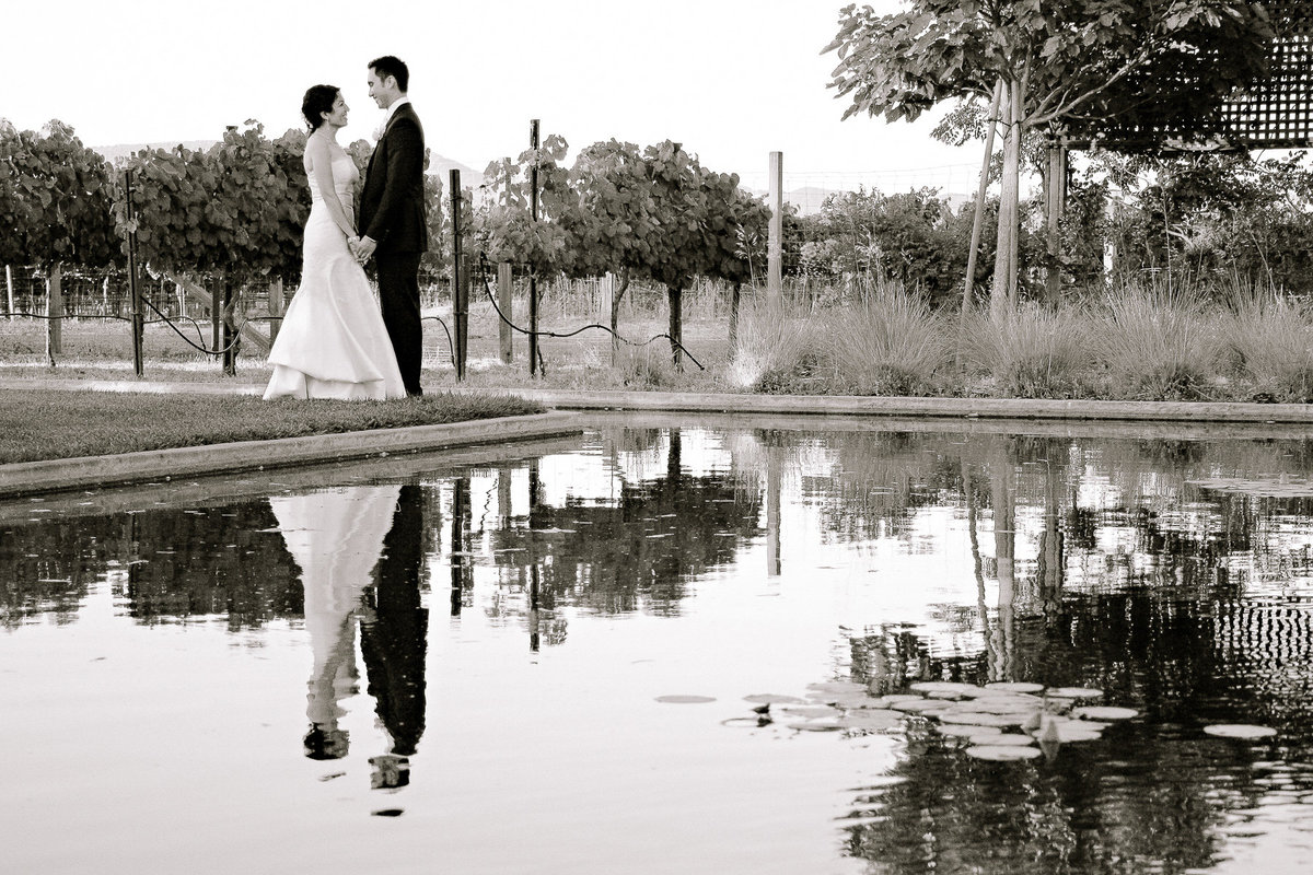 A portrait of the bride and groom by the pond at Cornerstone Gardens in Sonoma.