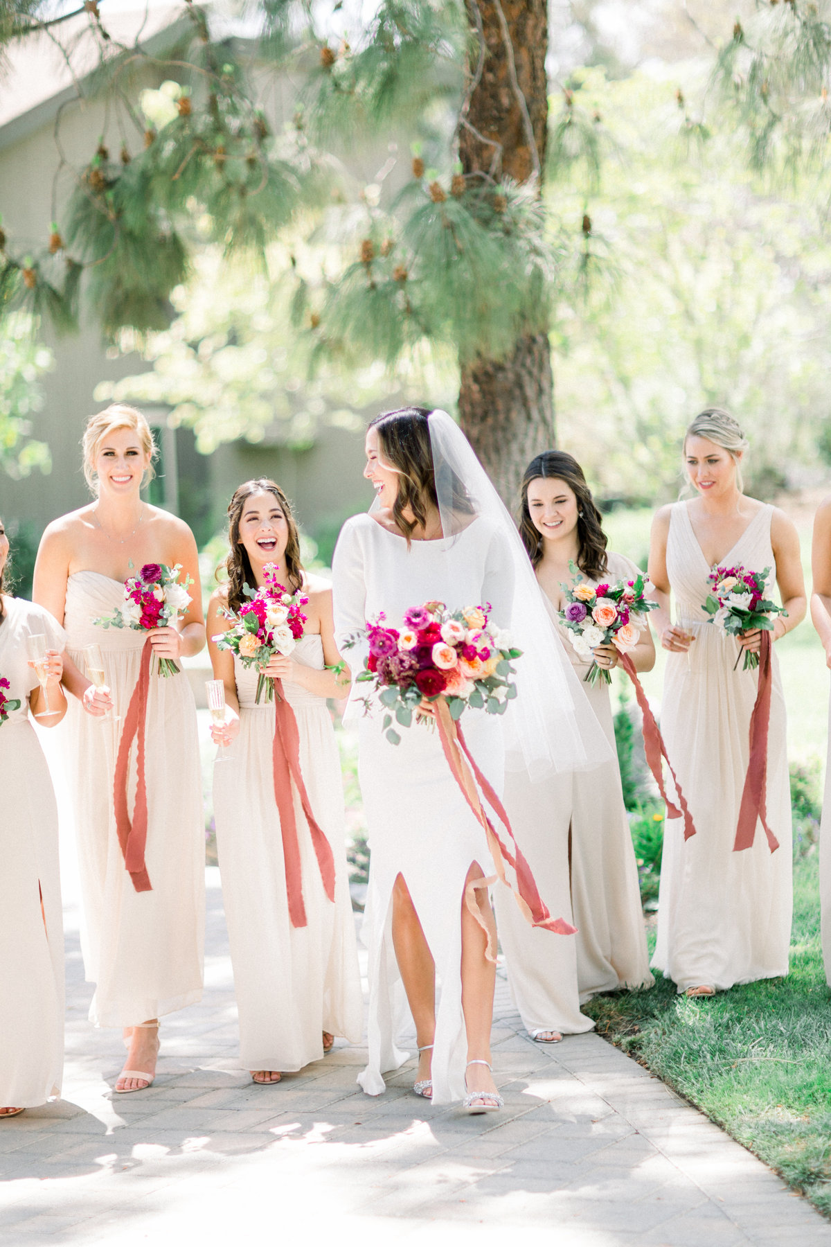 bride and bridesmaids wedding portrait at Maravilla Gardens wedding