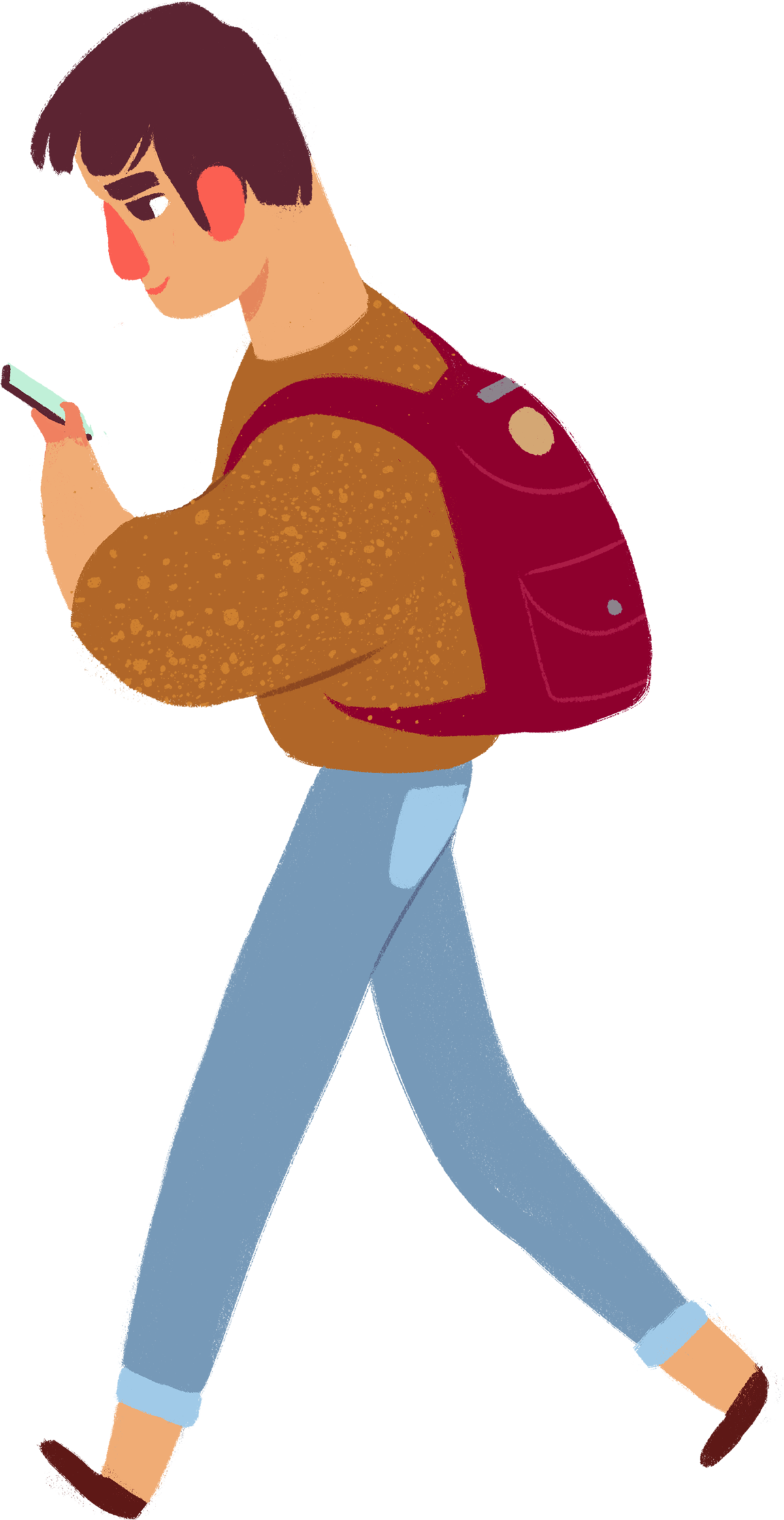 cartoon man wearing a backpack walking while using his phone