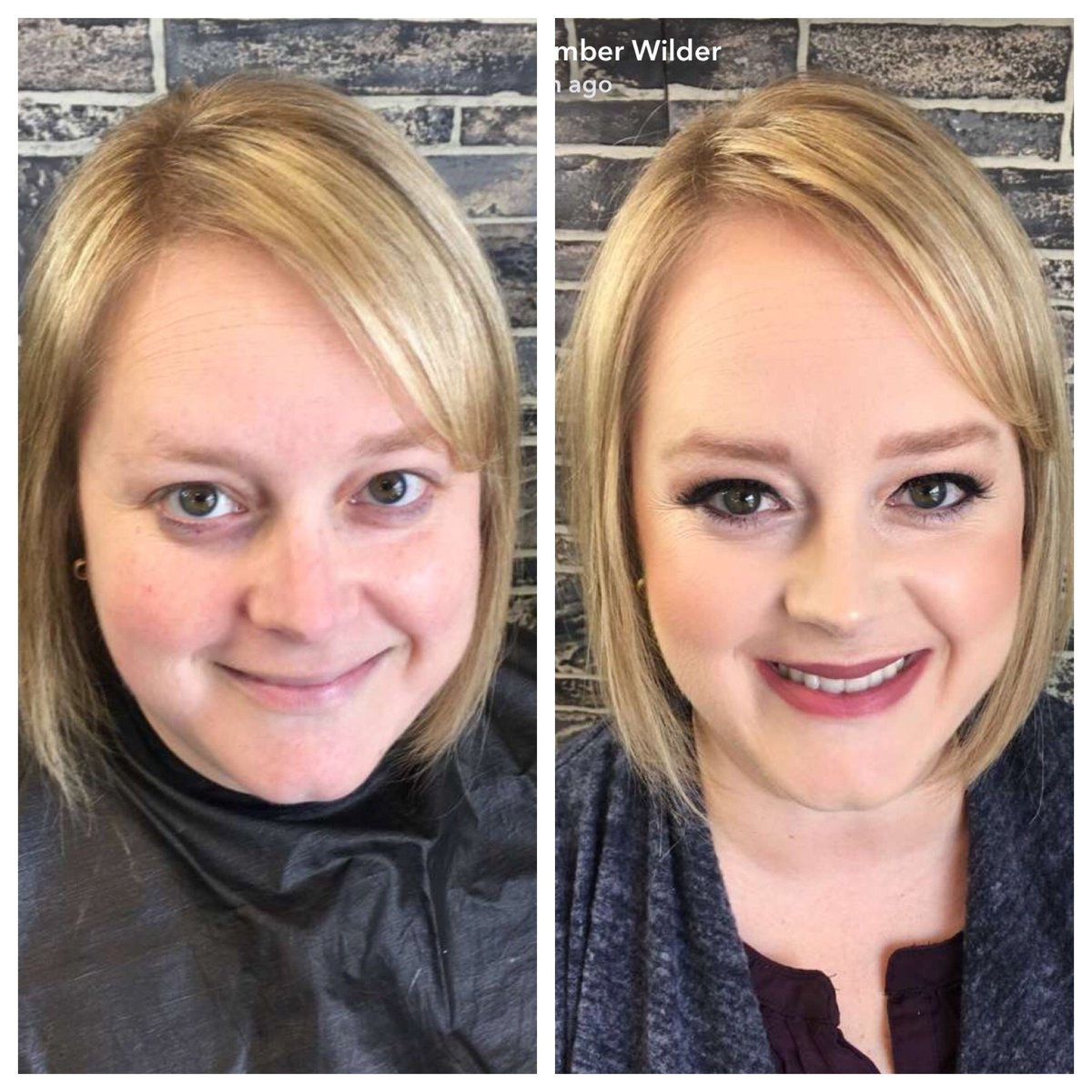 before and after professional hair and makeup for branding pictures in lansing michigan