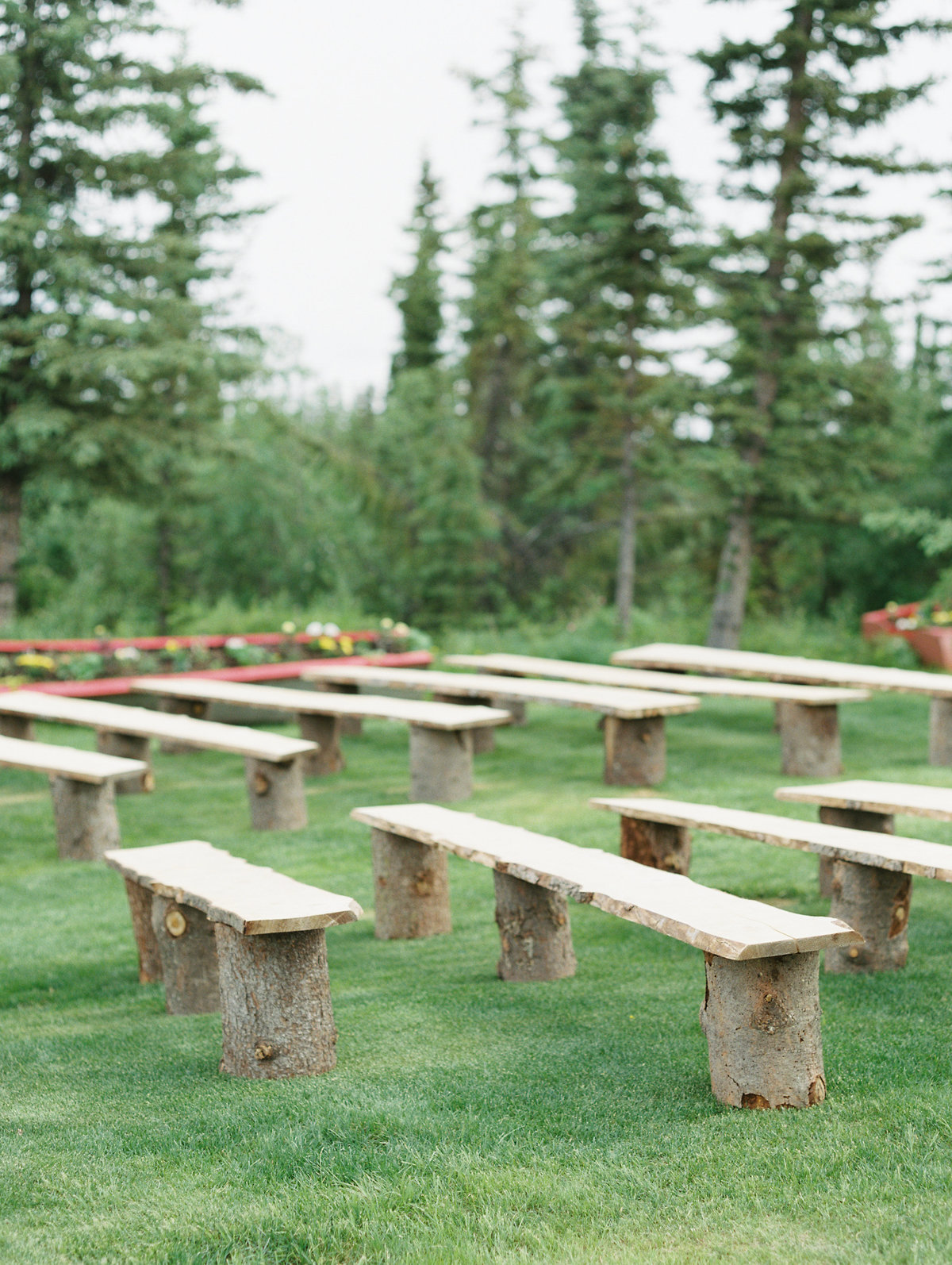 Alaska wedding ceremony wood benches