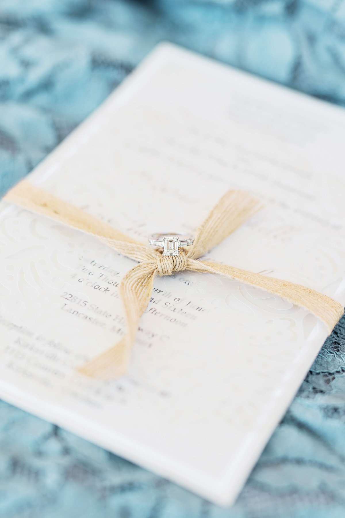 rustic wedding decor and engagement ring in Missouri