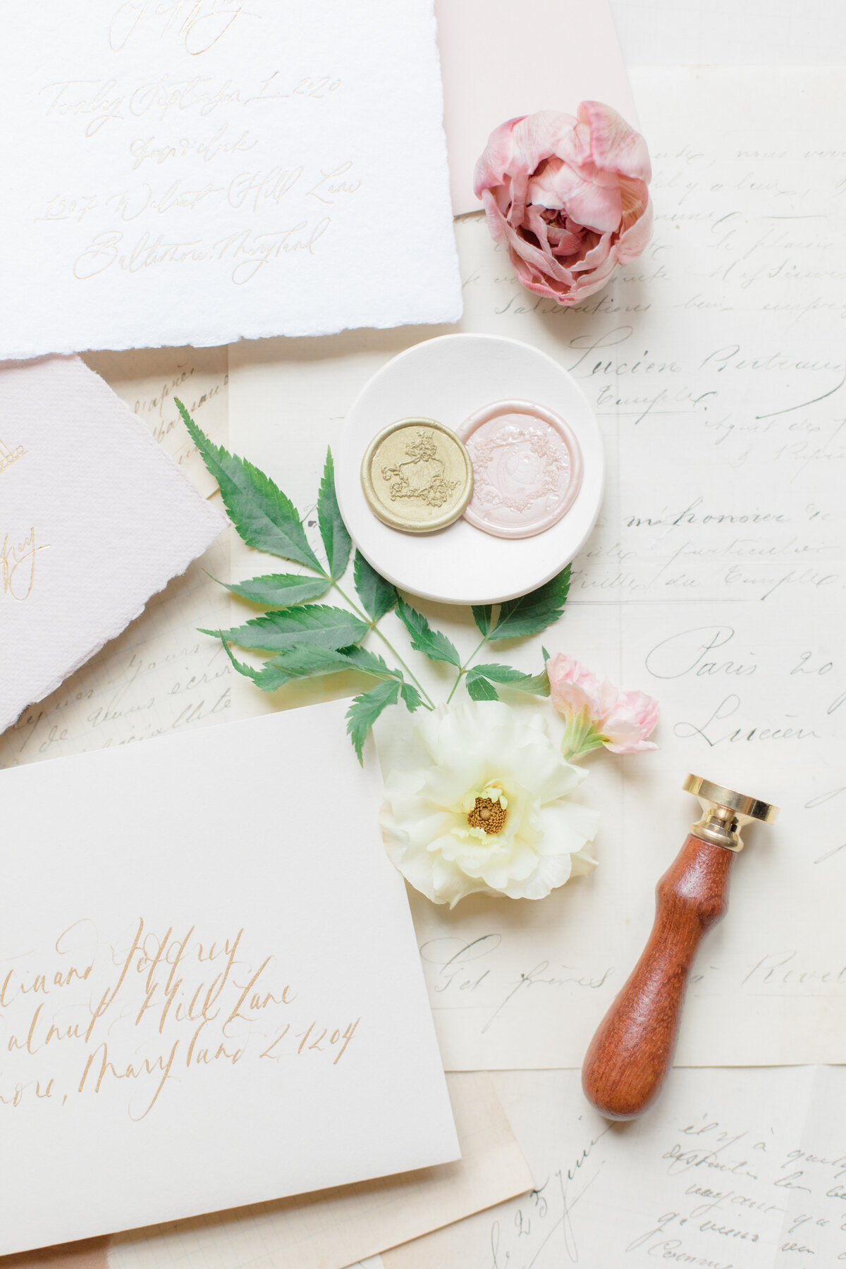 french inspired hand made calligraphy wedding invitation suite by costola photography