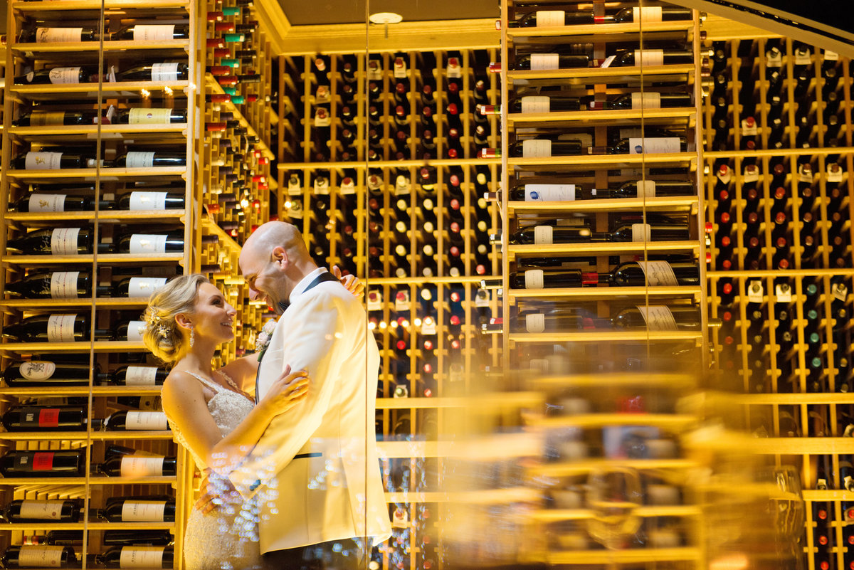 Bride and groom at the wine cellar at Prime