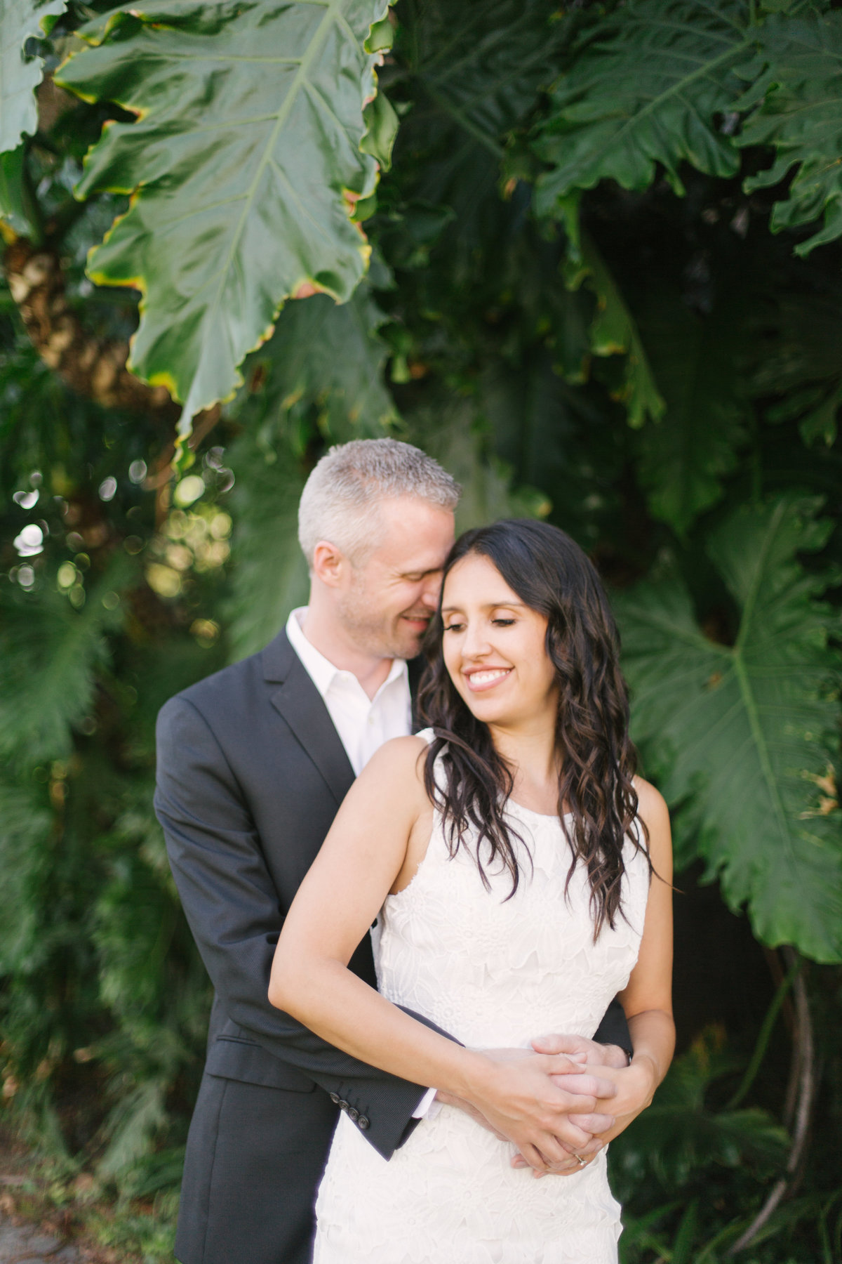 Bride and groom embrace after Santa Barbara Courthouse Elopement Wedding