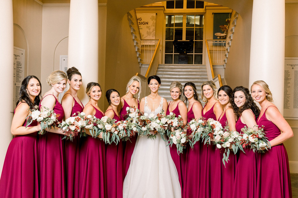 bride and bridesmaids Winterthur wedding florist