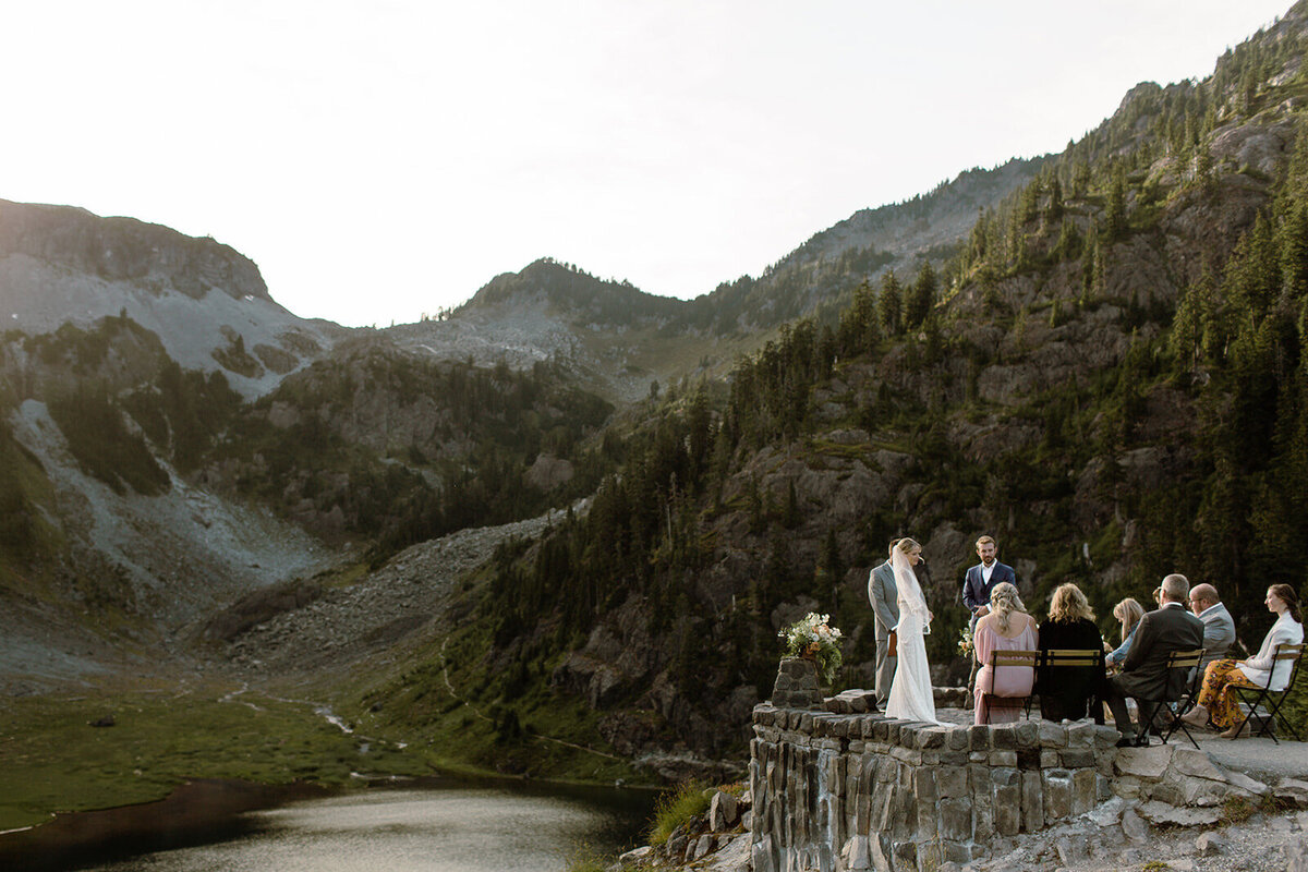 Intimate elopement ceremony overlooking Bagley Lake