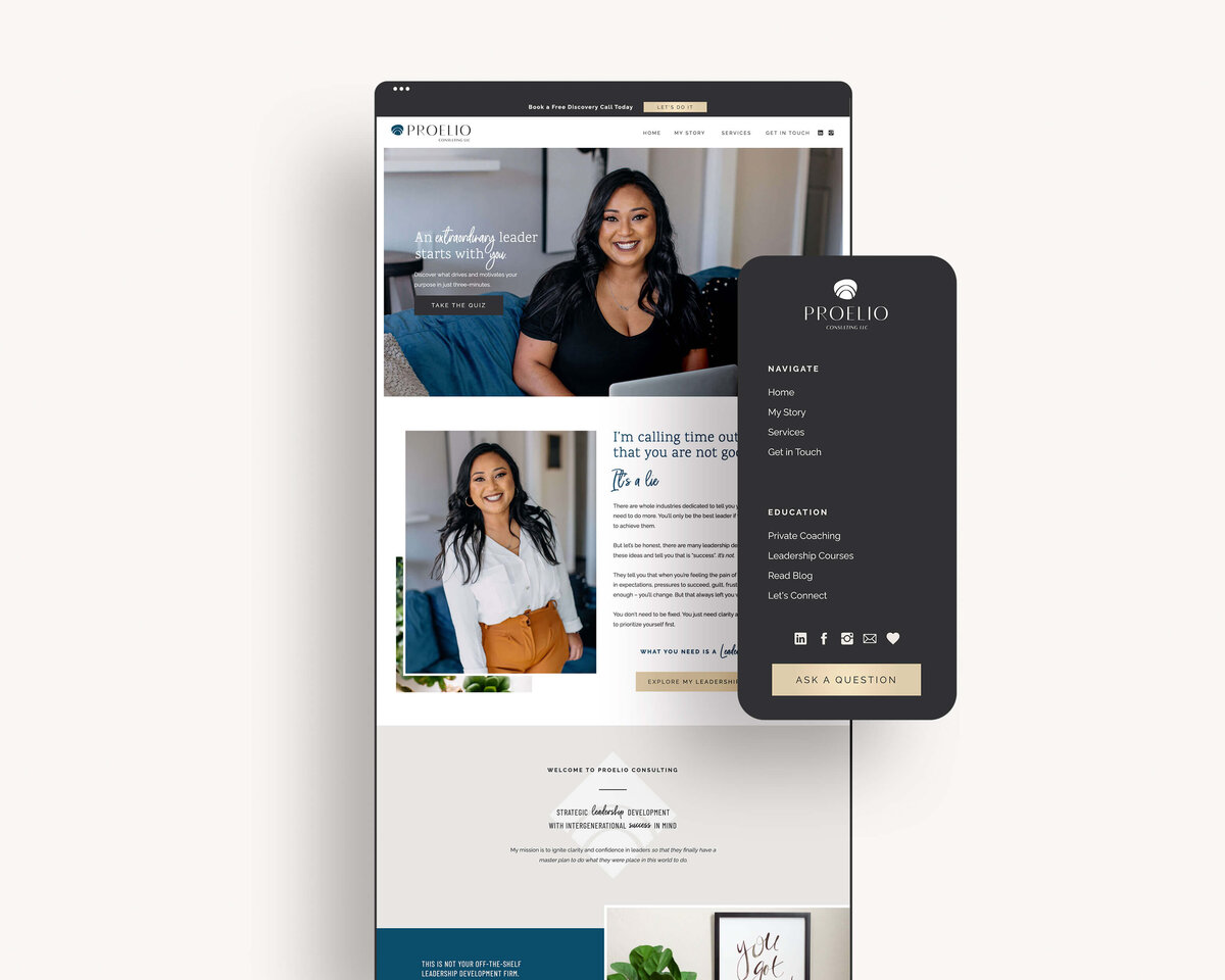 los-angeles-business-coach-custom-showit-website-design-minimal-trendy-clean-proelio-consulting