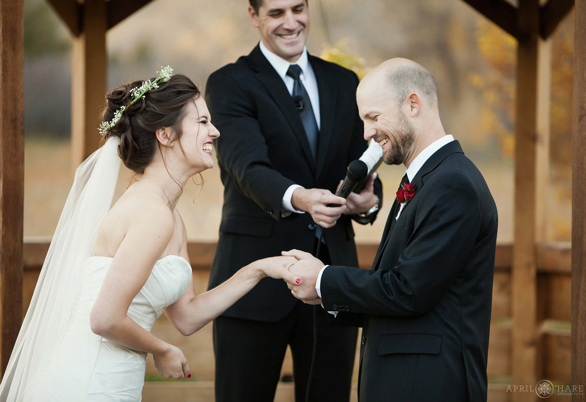 Outdoor Fall Wedding Ceremony at Denver Botanic Gardens Chatfield Farm