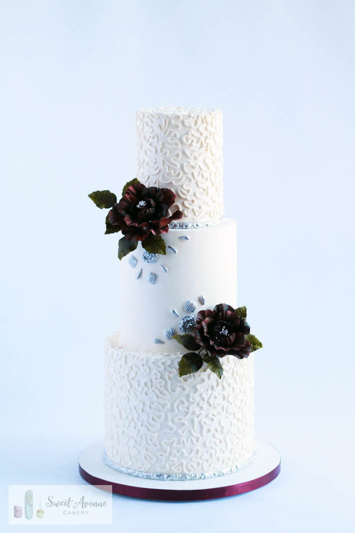buttercream wedding cake with lace silver details and burgundy peonies, Hamilton ON wedding cakes