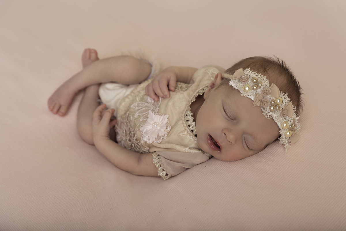 newborn girl pink themed portrait session
