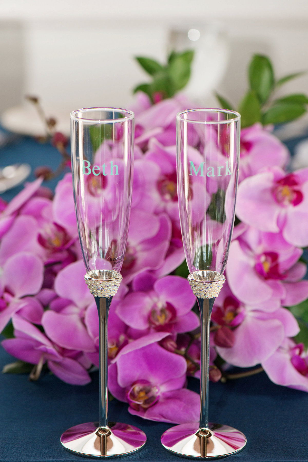 photo of engraved champagne flutes from wedding at Pavilion at Sunken Meadow
