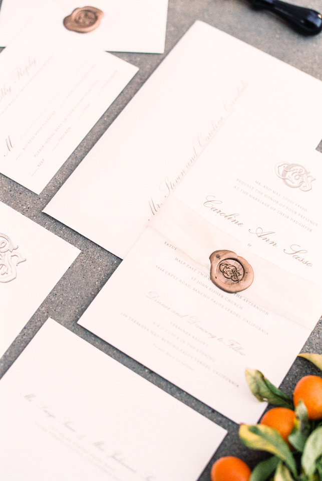 invitation suite for terranea wedding