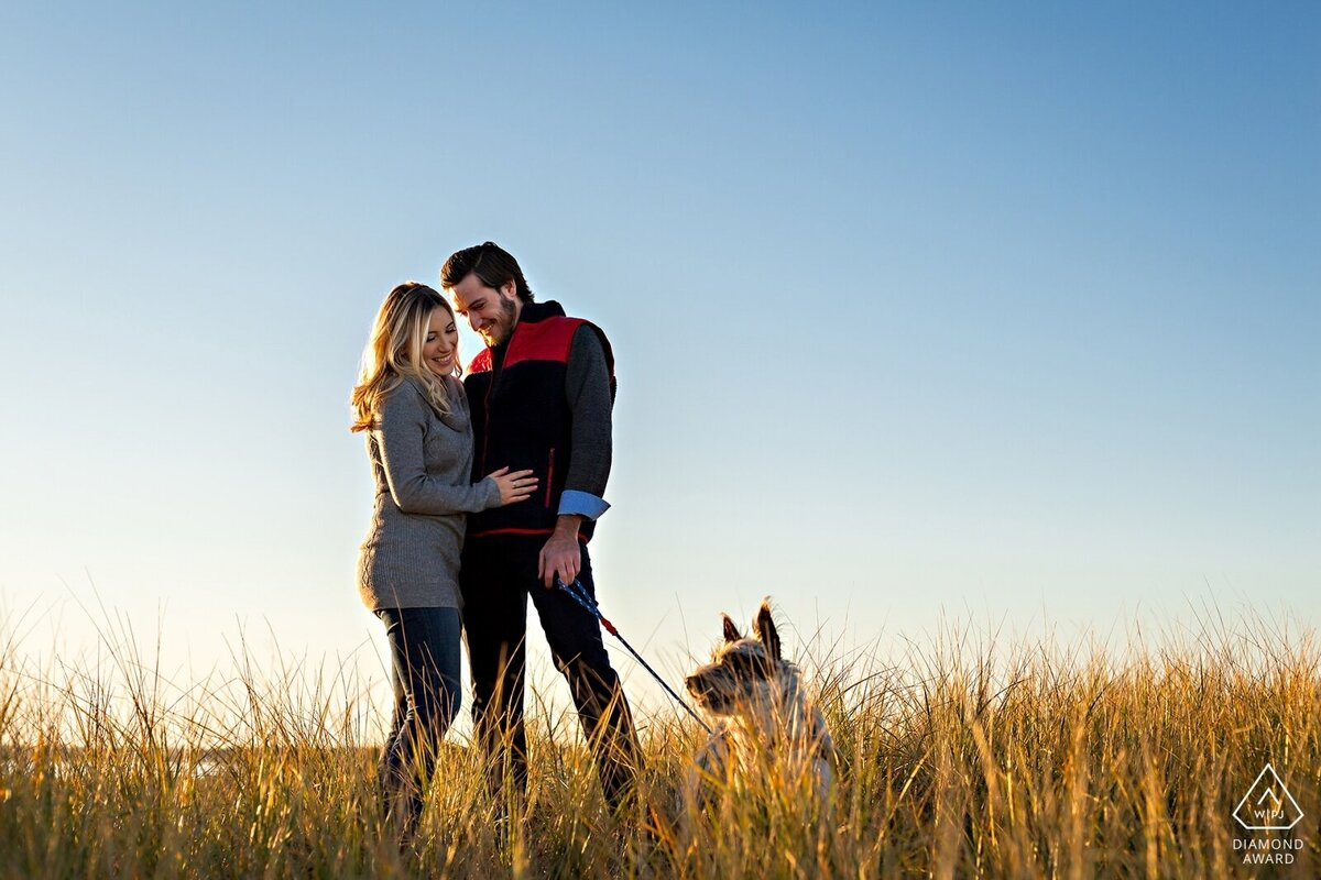 Plum Island Massachusetts engagement session in the tall beach grass with their puppy