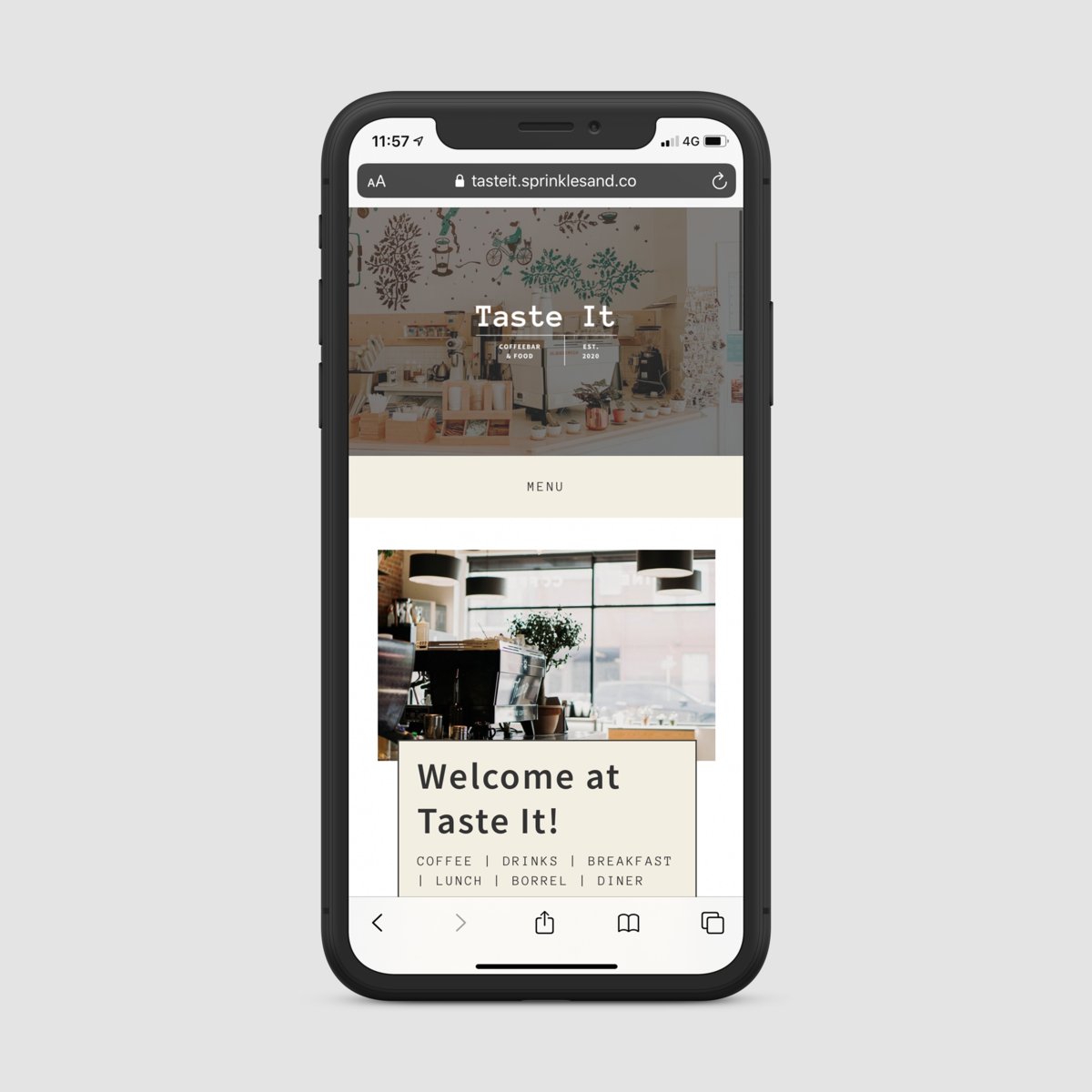 iPhone X mockup homepage