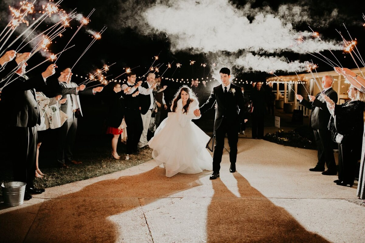 A sparkler grand exit for the bride and groom
