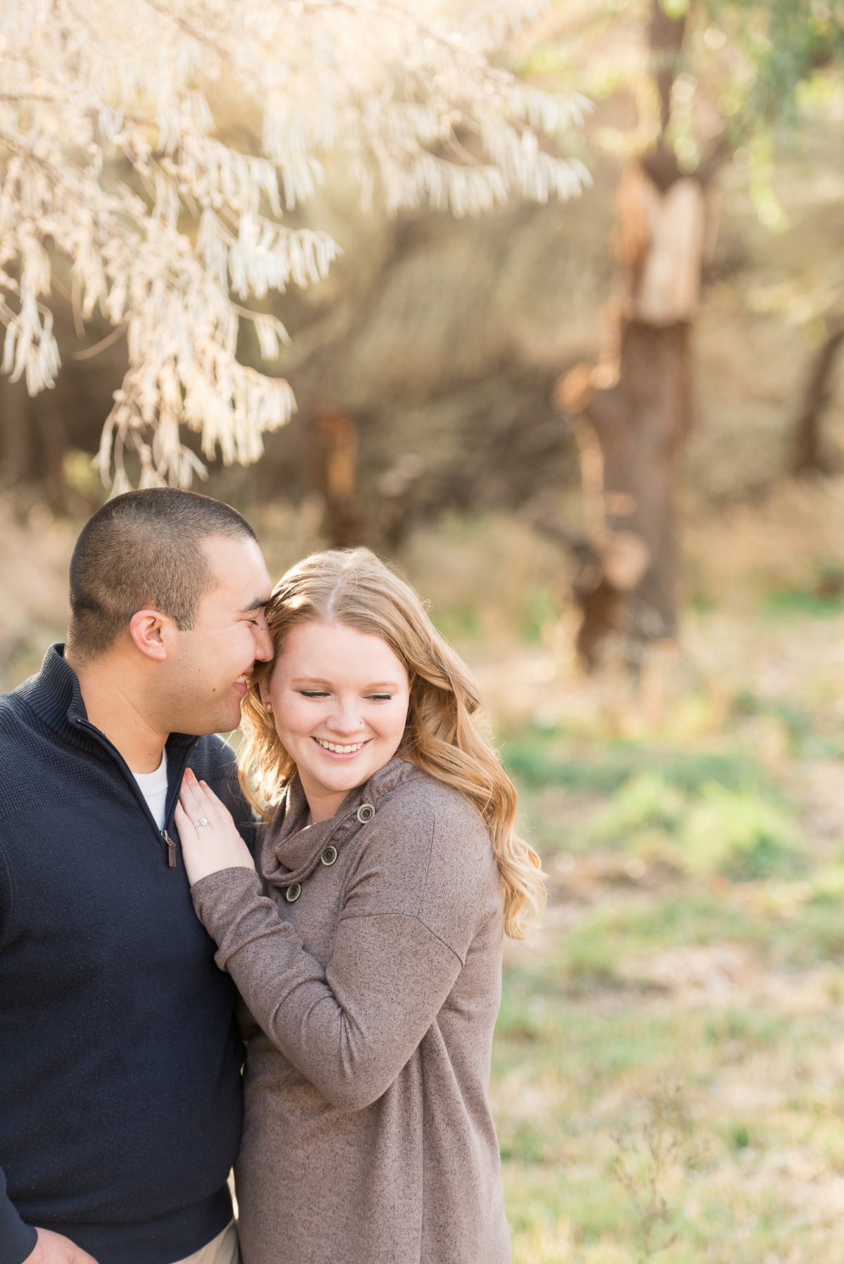 A couple under a tree during a fall engagement session in layton utah