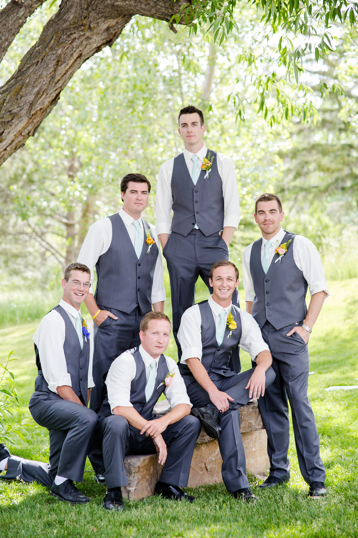 groomsmen posed at spruce mountain ranch