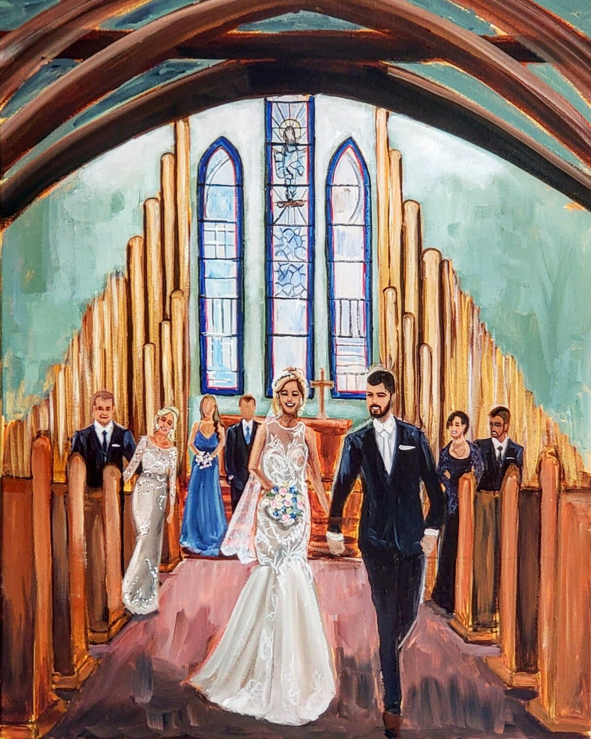 Live wedding painting of a bride and groom walking up the aisle of a church outside of Baltimore Maryland